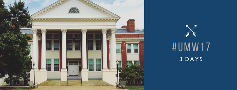 An image of Monroe, the History building at UMW with the school colors depicting hashtag UMW 17 with 3 days below it